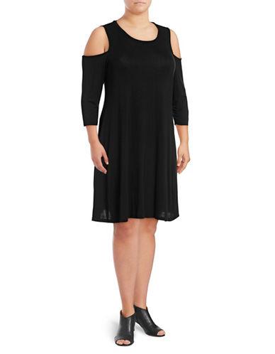 Style And Co. Plus Cold-Shoulder A-Line Dress-BLACK-1X