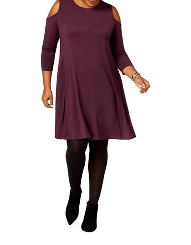 Style And Co. Plus Cold-Shoulder A-Line Dress-PURPLE-2X