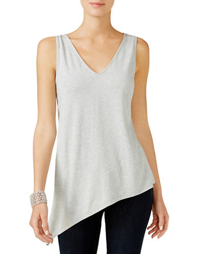 I.N.C International Concepts Heathered Asymmetrical Tank Top-GREY-Large 89360264_GREY_Large