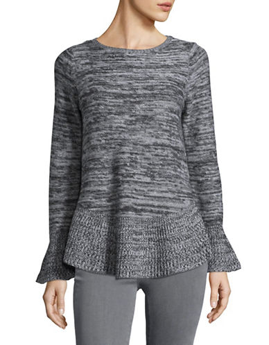 Style And Co. Marl Bell Sleeve Sweater-GREY-X-Large