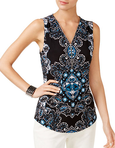 I.N.C International Concepts Petite Zip-Front Tank Top-BLACK MULTI-Petite X-Small