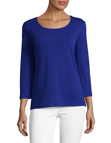Karen Scott Round Neck Top-BLUE-Medium