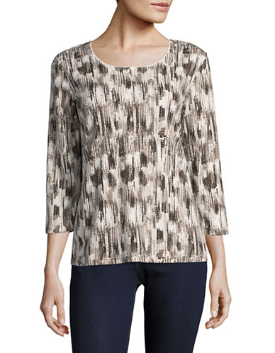 Karen Scott Printed Three-Quarter Sleeve Top-BROWN-X-Large