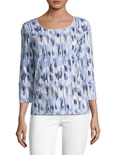 Karen Scott Printed Three-Quarter Sleeve Top-BLUE-X-Large