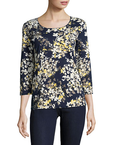 Karen Scott Floral T-Shirt-BLUE MULTI-XX-Large