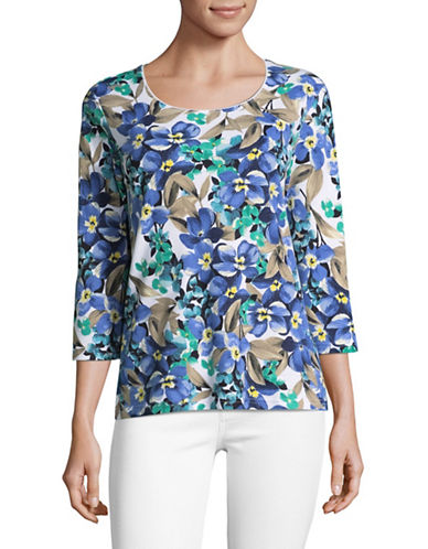 Karen Scott Printed Three-Quarter Sleeve Top-WHITE MULTI-X-Large