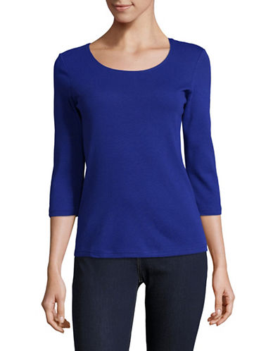 Karen Scott Petite Petite Cotton Scoop Neck Top-BLUE-Petite X-Large