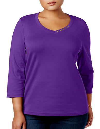 Karen Scott Plus Cotton Button Trim Top-PURPLE-2X