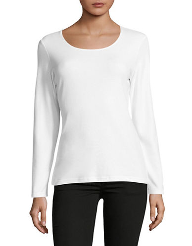 Karen Scott Petite Long Sleeve Scoop Neck Top-WHITE-Petite Small