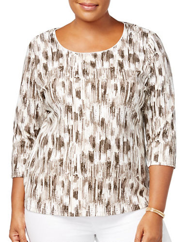 Karen Scott Plus Printed Three-Quarter Top-BROWN-3X