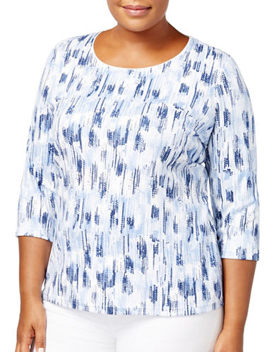 Karen Scott Plus Printed Three-Quarter Top-BLUE-2X