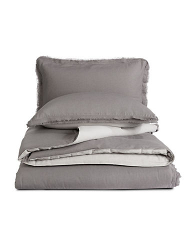 Martha Stewart Cotton Linen Three-Piece Comforter Set-CHARCOAL-Queen