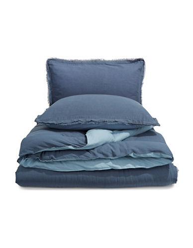 Martha Stewart Cotton Linen Three-Piece Comforter Set-NAVY-Queen