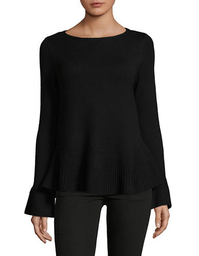 Style And Co. Petite Flared Top-BLACK-Petite Small