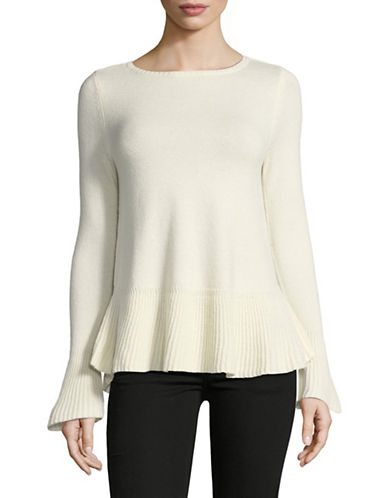 Style And Co. Petite Flared Top-WHITE-Petite Medium