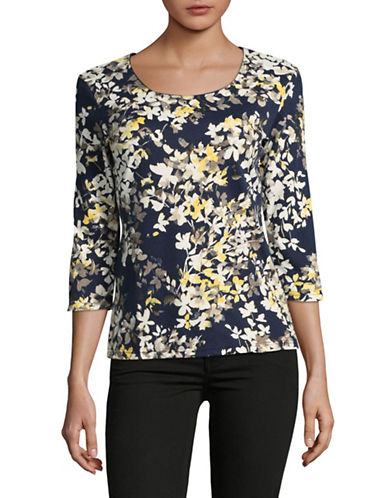 Karen Scott Petite Floral Three-Quarter Sleeve Top-BLUE-Petite X-Large