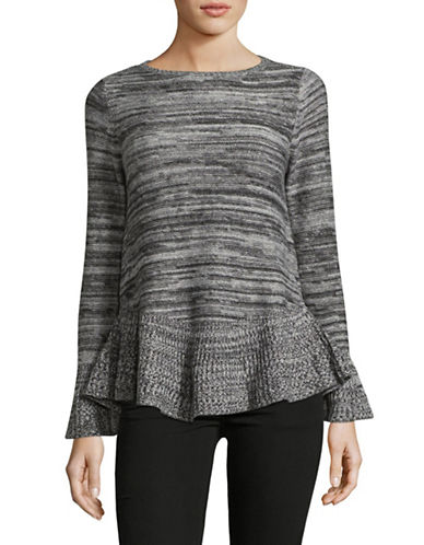 Style And Co. Petite Marl Bell Sleeve Sweater-GREY-Petite Large