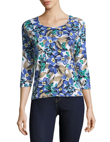 Karen Scott Petite Printed Three-Quarter Sleeve Top-WHITE MULTI-Petite X-Large