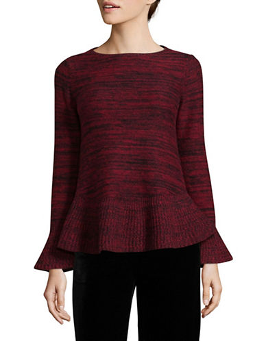 Style And Co. Petite Marl Bell Sleeve Sweater-RED-Petite X-Small