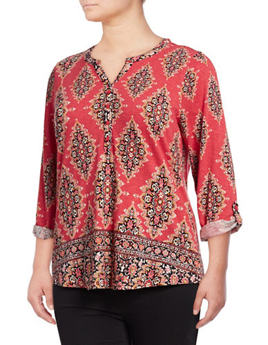Style And Co. Plus Printed Long-Sleeve Split Neck Top-RED-2X