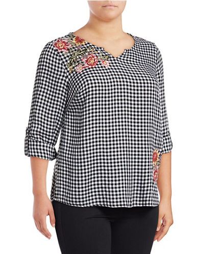 Style And Co. Plus Floral Embroidered Gingham Top-BLACK-2X