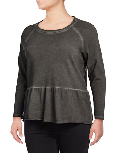 Style And Co. Plus Flounce Hem Cotton Top-BLACK-2X