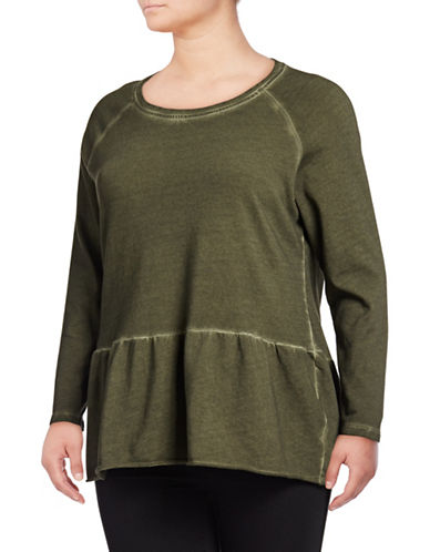Style And Co. Plus Flounce Hem Cotton Top-OLIVE-3X