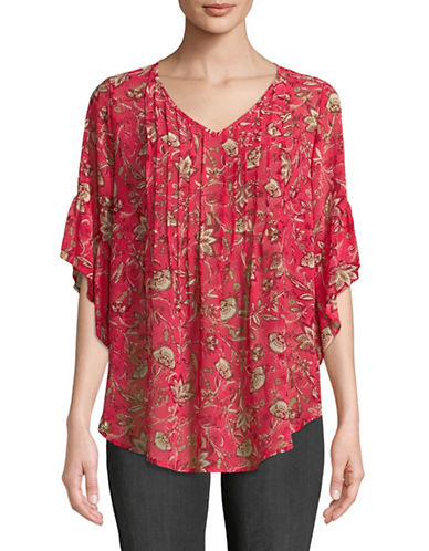 Style And Co. Floral Butterfly Sleeve Blouse-RED-Small
