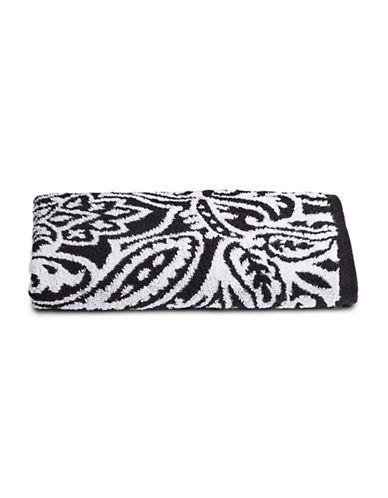Charter Club Home Elite Paisley Cotton Wash Towel-BLACK-Washcloth