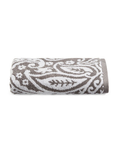 Charter Club Home Elite Paisley Cotton Wash Towel-SMOKE-Washcloth