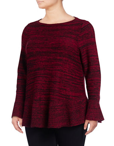 Style And Co. Plus Marl Ruffle Sweater-RED/DB-1X