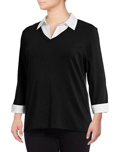 Karen Scott Plus Contrast Collar Twofer-BLACK-2X