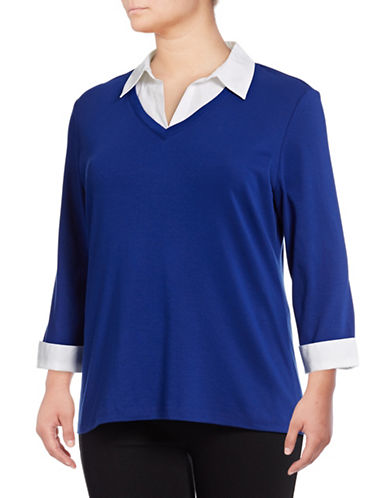 Karen Scott Plus Contrast Collar Twofer-BLUE-3X