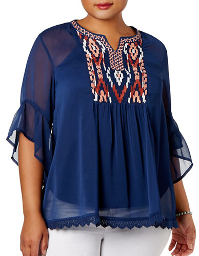 Style And Co. Plus Embroidered Layered Blouse-BLUE-3X