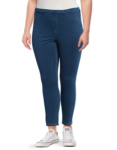 Style And Co. Plus Twill Denim Leggings-BLUE-2X