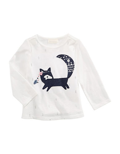 First Impressions Fox Applique Cotton Tee-WHITE-3-6 Months