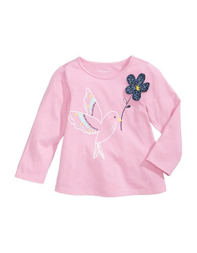 First Impressions Bird Printed Cotton Tee-PINK-18 Months