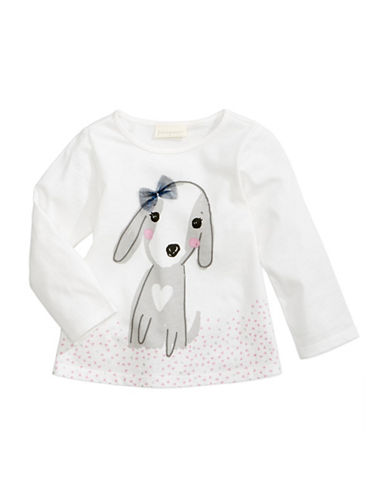 First Impressions Dog Printed Cotton Tee-WHITE-12 Months