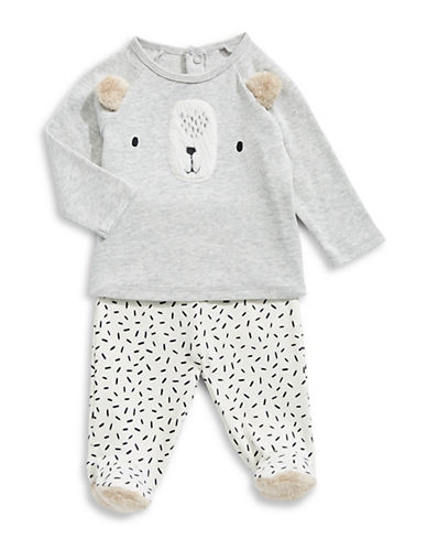 First Impressions Babys Two-Piece Top and Pants Set-GREY-3-6 Months
