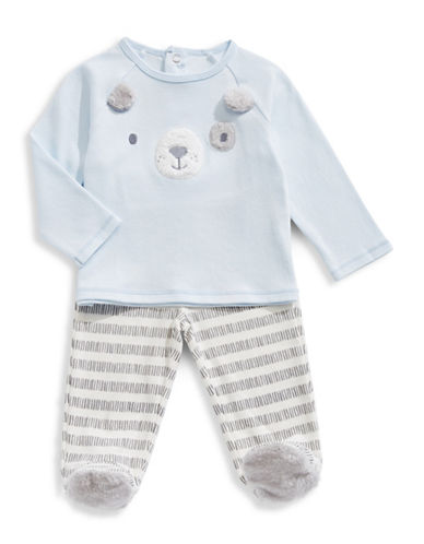 First Impressions Dog Shirt and Footed Pants Set-BLUE-3-6 Months