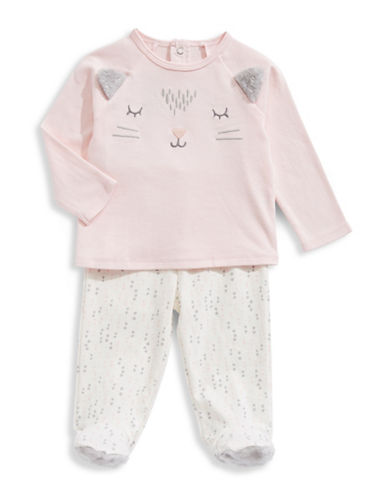 First Impressions Cat Shirt and Footed Pants Set-PINK-6-9 Months