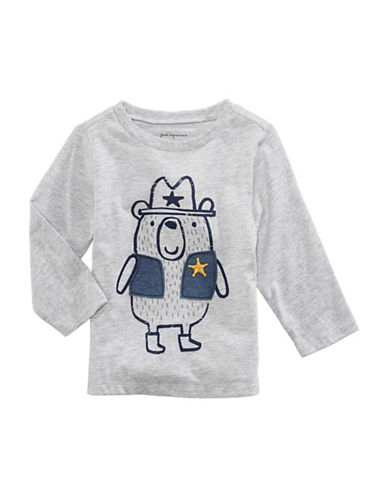 First Impressions Sheriff Bear-Print Tee-GREY-12 Months