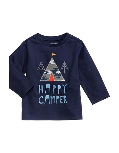 First Impressions Happy Camper Cotton Tee-BLUE-3-6 Months