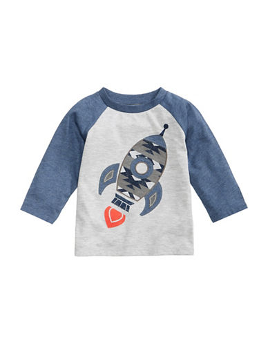 First Impressions Rocket-Applique Raglan Tee-GREY-6-9 Months