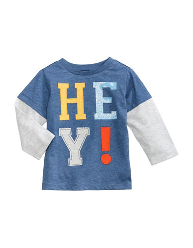 First Impressions Hey-Applique Fooler Tee-BLUE-6-9 Months