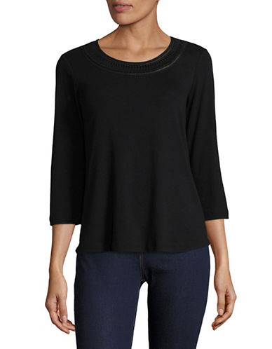 Karen Scott Crochet Neck Shirt-BLACK-Small