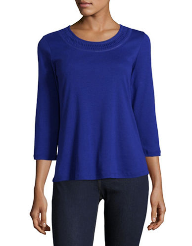 Karen Scott Crochet Neck Shirt-BLUE-Medium