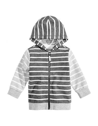 First Impressions Striped Hoodie-GREY-12 Months