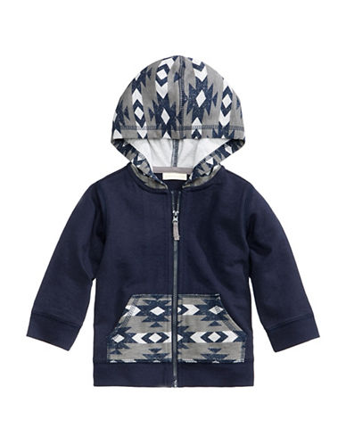First Impressions Southwestern-Print Zip-Up Hoodie-GREY-12 Months