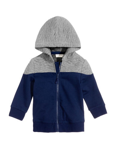 First Impressions Colourblock Quilted Hoodie-BLUE-12 Months